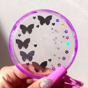 Butterfly coaster tray dish purple holographic floral daisy sparkly kawaii cute